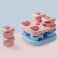 4 Pack Glass Complementary Food Box Lunch Box Microwave Heating Portable Mini Lightweight Cute Ladies Girl Lunch Box For Baby