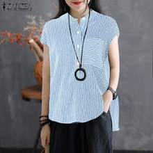 ZANZEA Women Stripe Print Blouse 2019 Summer Office Lady Shirt Tunic Tops Casaul Cotton Linen Blusas High-low Blusa Feminina 5XL