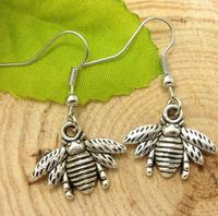Fashion DIY Earrings Vintage Ancient Silver Bee Charms Dangle Earrings For Women Christmas Gift Jewelry Making 50 pair