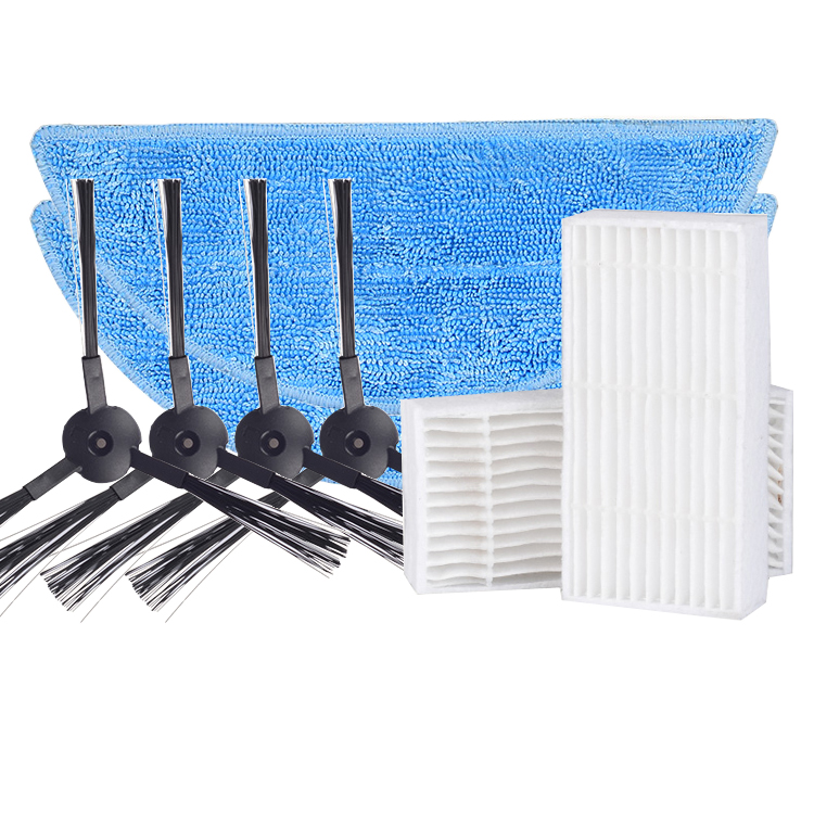 4 side Brush+2 hepa Filter+2 Mop Cloth for ilife v5s ilife v5 pro x5 V3L V5 V3S ilife V3S pro robot vacuum cleaner parts filter 2 brush 3 side brush 3 hepa filter 1 cleaning cylinder robot vacuum cleaner 610 611 627 620 630 650 replacement parts