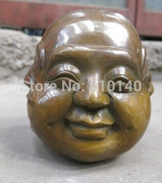 China brass carved luck four face Buddha head sculpture StatueChina brass carved luck four face Buddha head sculpture Statue