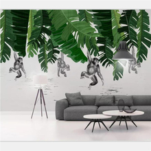 beibehang Wallpaper custom large high-end Nordic modern minimalist banana leaf monkey plant background wall papel de parede 3d