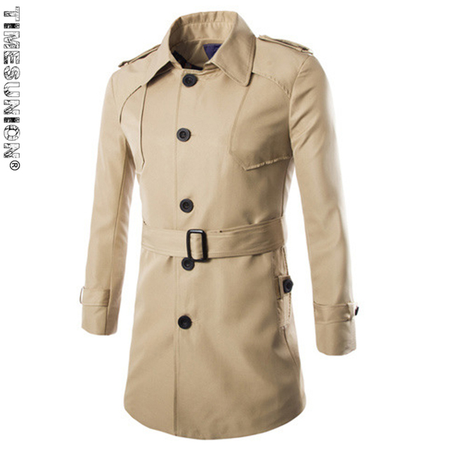 55fdc7a8c Men Trench Coat Classic Single breasted Trench Coat Masculino Male ...