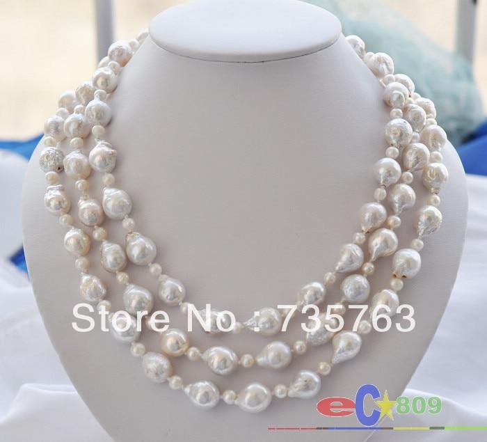 "Wedding 3 rows Pearl Baroque White keshi reborn Pearl Necklace 20/"""