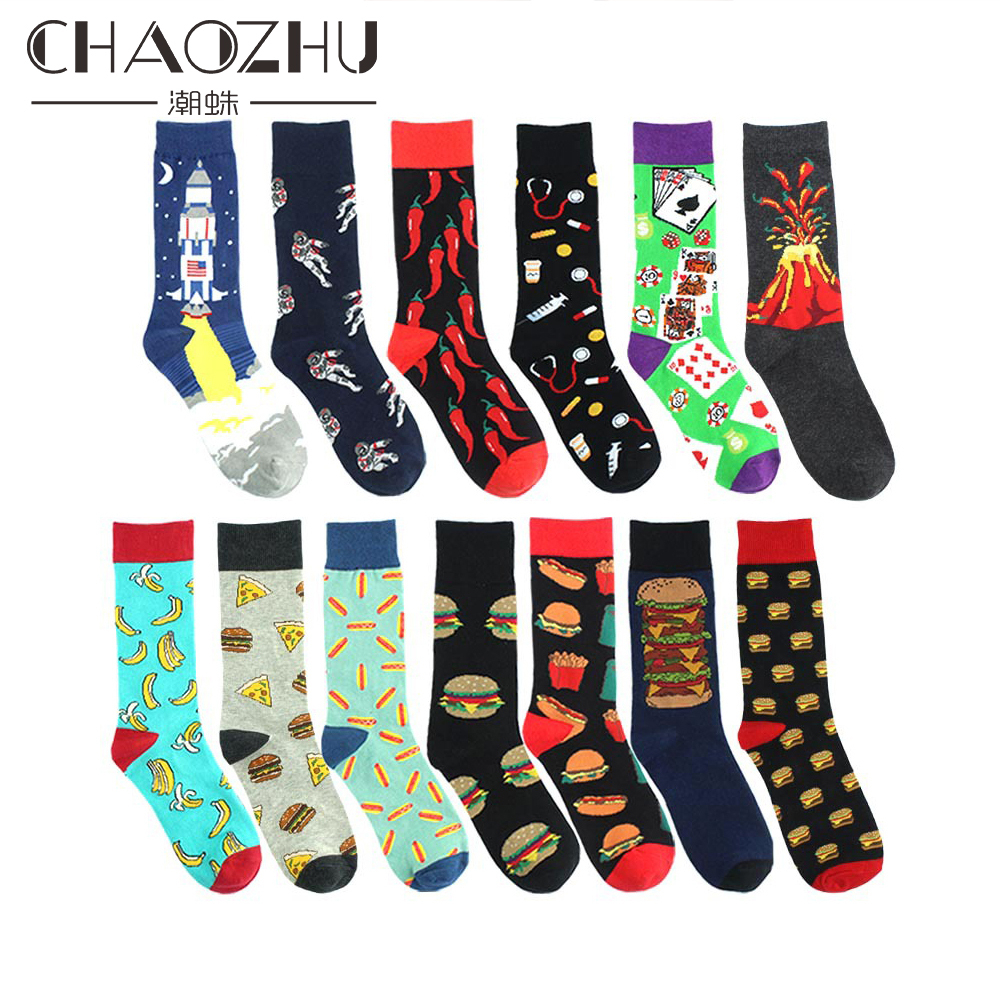 CHAOZHU Cool Men's Fancies Happy Socks Poker Burger Pepper Cartoon Funny Sneaker Footwear Street B Boy Hip Hop Crew Jacquard