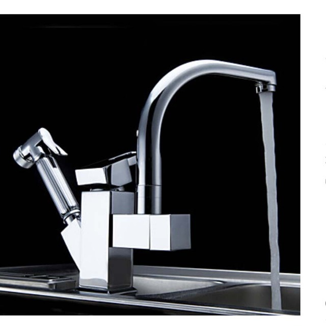 Deck Mounted Chrome Brass Kitchen Faucet Pull Out Sprayer Vessel Bar Sink Faucet Single Handle Hole Mixer Tap