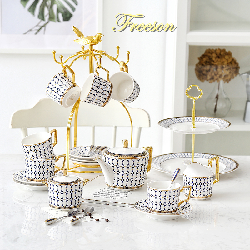 Nordic Bone China Coffee Set Gold Inlay Porcelain Tea Set Luxury Pot Cup Advanced Ceramic Mug Sugar Bowl Creamer Teapot Milk Jug