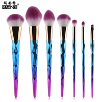 7pcs Brush Makeup Brushes Set Rhinestone Colorful Cosmetic Powder Foundation Eyeshadow Lip Brush Tools For Eyebrows