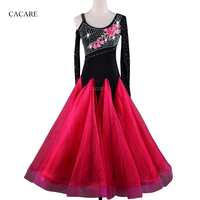 Ballroom Dance Competition Dresses Standard Dance Costume D343 Hot Pink Long Sleeve with Rhinestones Embroidered Appliques