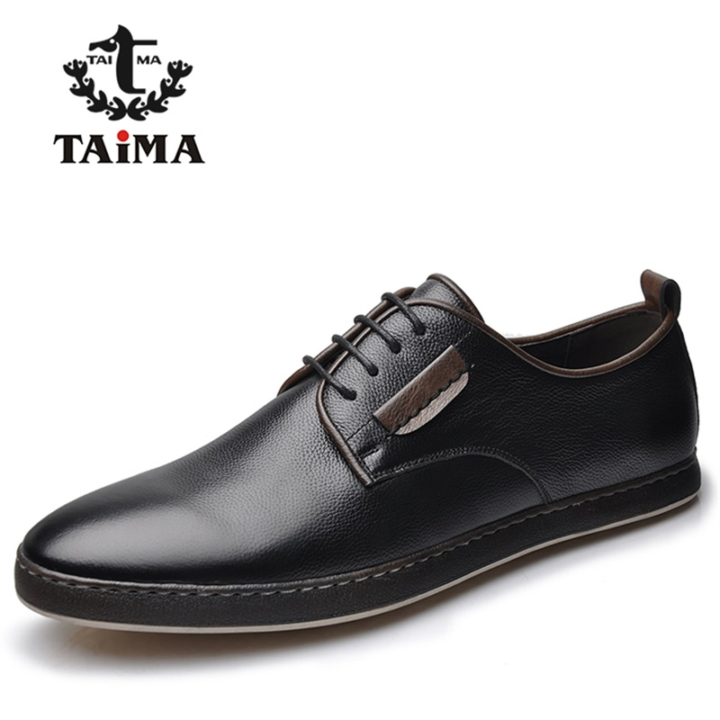 цена New Fashion High Quality Genuine Leather Men Gentleman Shoes Business Casual Oxfords Shoes For Men Dress Shoes Brand TAIMA 40-45 онлайн в 2017 году