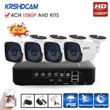 KRSHDCAM 4CH AHD DVR Sicherheit CCTV-System 30 Mt IR 4 STÜCKE 1080 P Cctv-kamera Im Freien Wasserdichte Kamera Hause Video Surveillance Kit