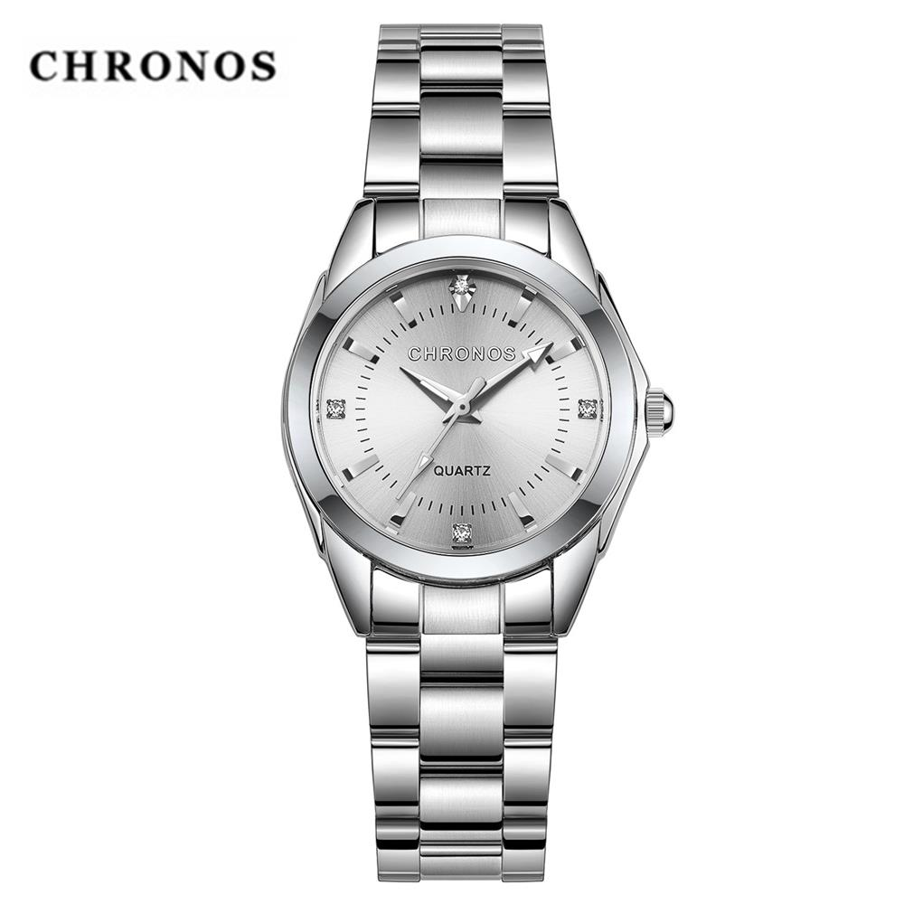 CHRONOS Women Stainless Steel Rhinestone Watches Silver Bracelet Quartz Waterproof Lady Business Analog Watches Pink Blue Dial