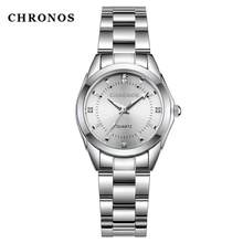 CHRONOS Women Stainless Steel Rhinestone Watches Silver Bracelet Quartz Waterproof Lady Business Analog Watches Pink Blue Dial(China)