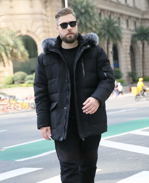 Manteau en duvet de canard pour hommes à la mode d'hiver avec col en fourrure de renard veste parkas chaude pour hommes vert noir 5xl 6xl 7xl 8xl 9xl 10xl