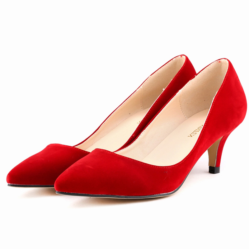 Red Low Heel Pumps - Qu Heel