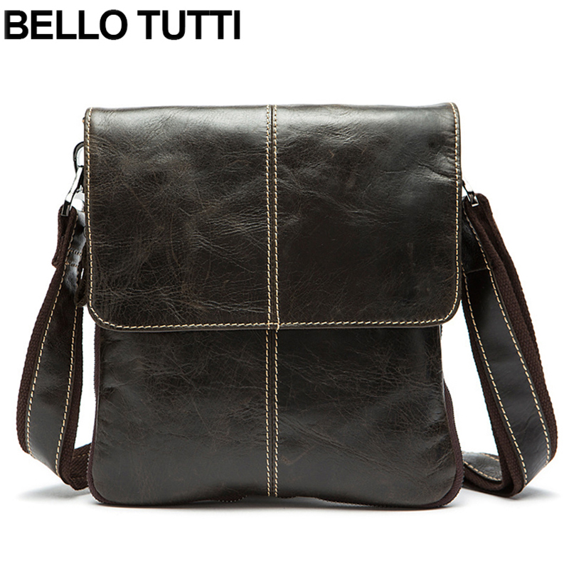 BELLO TUTTI Genuine Leather Men Bags Vintage Men's Messenger Bag Shoulder Crossbody Bags Male Men Leather Travel Laptop Bag augur men s messenger bag multifunction canvas leather crossbody bag men military army vintage large shoulder bag travel bags