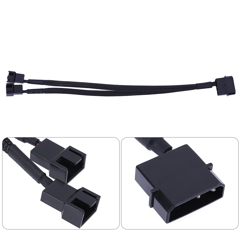 High Quality 4pin IDE Molex to 2 Port 3Pin/4Pin Cooler Cooling Fan Splitter Power Cable Black Sleeved Computer Cables Connectors sleeve bearing 120mm case fan heatsink cooler cooling for pc computer radiators 12cm fan power by 12vdc 3pin ide molex 4pin
