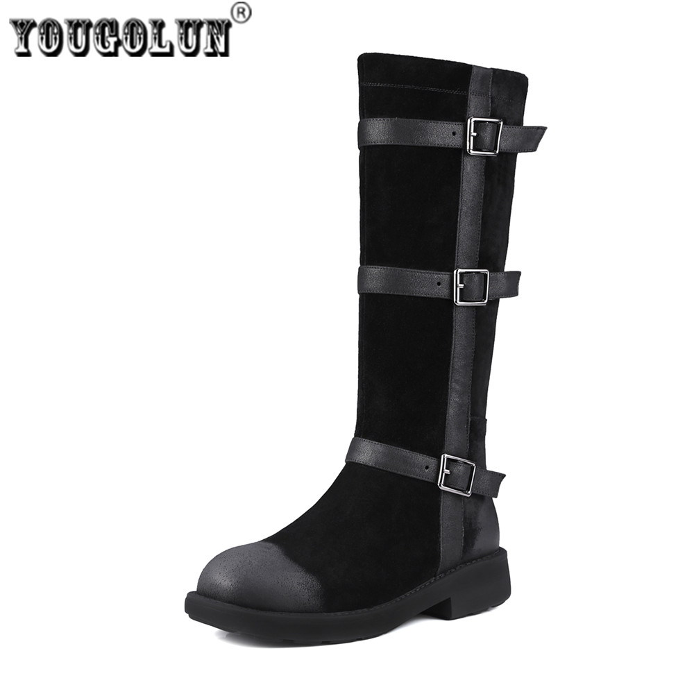 YOUGOLUN Ladies fashion thigh high boots buckle winter knee high boots woman suede genuine leather women black low heels shoes ppnu woman winter nubuck genuine leather over the knee snow boots women fashion womens suede thigh high boots ladies shoes flats