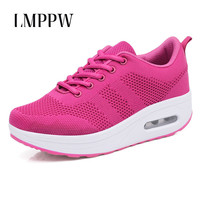 Platform Sneakers Women Fashion Casual Shoes Mesh Breathable Sport Running Shoes Increasing 5 CM Female Sneakers Chunky Shoes
