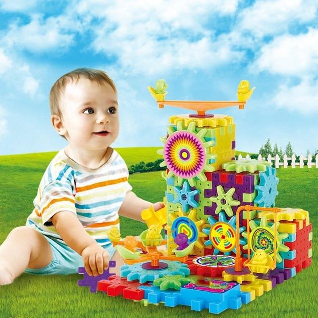 HOT Sale 81Pcs/set Electric Gears 3D Puzzle Building Kits Plastic Bricks Educational Toys For Kids Children Gift