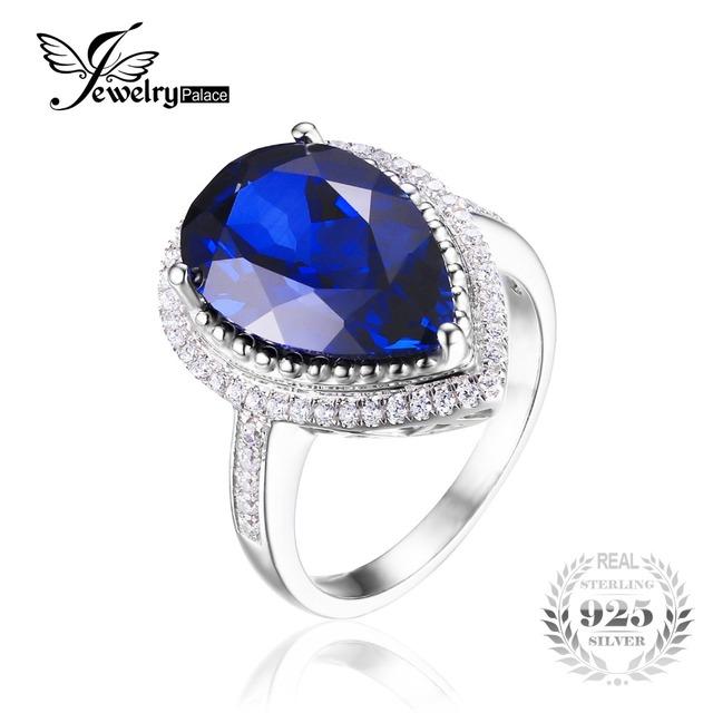 JewelryPalace Luxury Pear Cut 7ct Created Blue Sapphire Ring Genuine 925 Sterling Silver High Quality Engagement Ring For Women