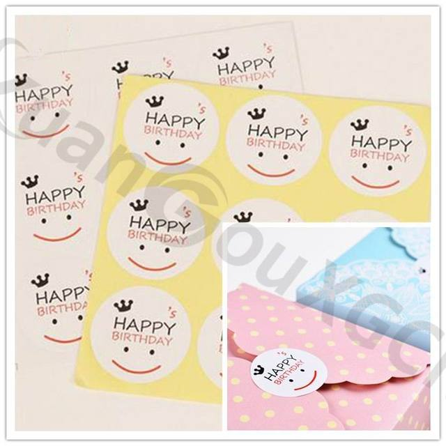 800set Seal Label Sticker Happy Birthday Smiling Face Tag Gift Marks DIY Accessories Party