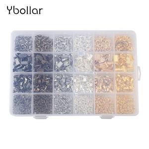 Image 4 - 1 ボックスジュエリー所見フォールドオーバーコード捲縮リボンクランプジャンプリングロブスタークラスプキット 6 色ネックレスブレスレット