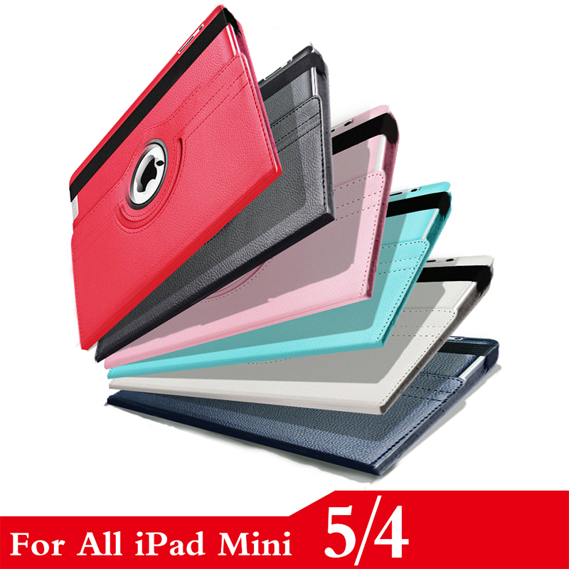 For Apple <font><b>iPad</b></font> <font><b>mini</b></font> <font><b>5</b></font> <font><b>2019</b></font> 360 Degree Rotating <font><b>Leather</b></font> Smart <font><b>Case</b></font> 7.9 inch Cover for <font><b>iPad</b></font> <font><b>mini</b></font> 4 A1538 A1550 Coque Funda+Stylus image