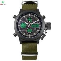Men Sport Watches LED Digital Analog Wristwatches 2017 Multifunction 30M Waterproof Fashion Casual Nylon Quartz Sport