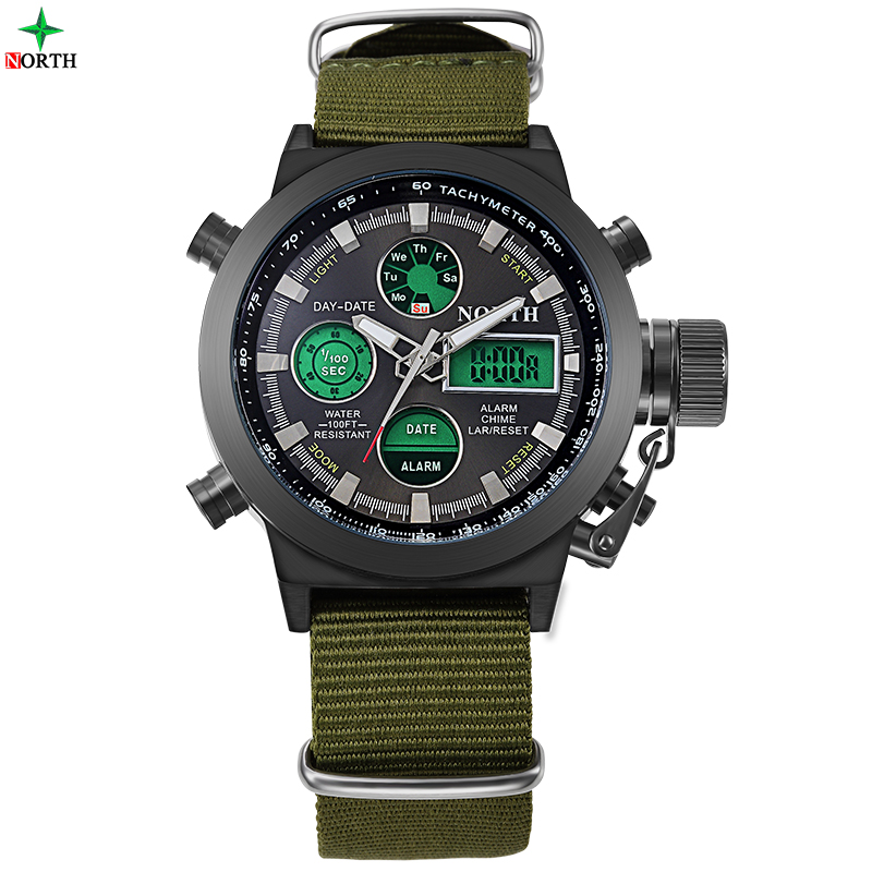 Men Sport Watches LED Digital Analog Wristwatches 2017 Multifunction 30M Waterproof Fashion Casual Nylon Quartz Sport Watch Men