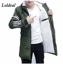Loldeal 2019 Winter Jacket Men hooded Slim long Warm Coat Mens Down Parkas Male