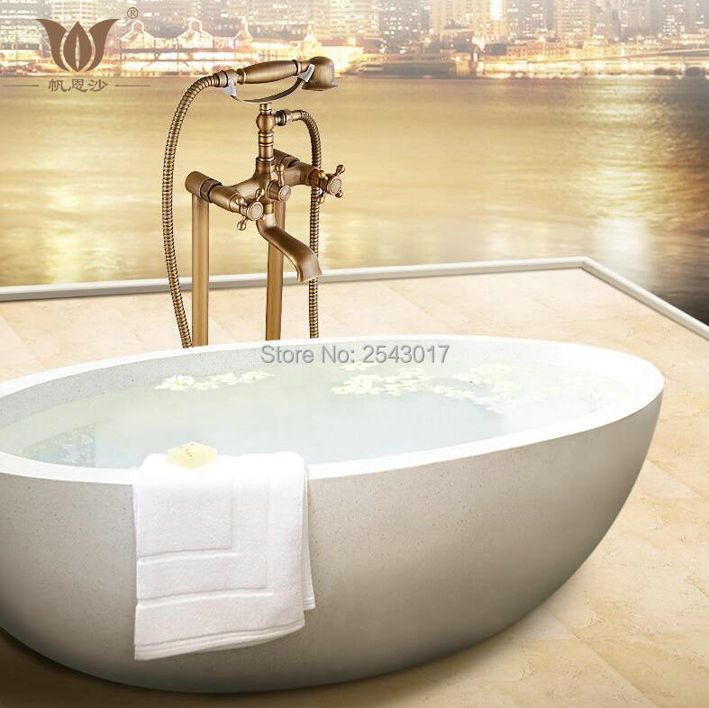 New Arrival Bathtub Shower Set Antique Brass Floor Stand Bath Shower Faucet Deck Mounted Dual Handle New Arrival Bathtub Shower Set Antique Brass Floor Stand Bath Shower Faucet Deck Mounted Dual Handle with Hand Shower ZR26