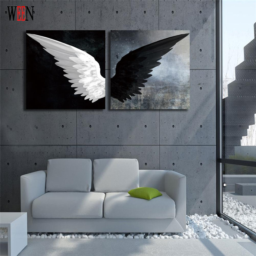 Ween blanco y negro ala pared estirado y enmarcado para moderno ...