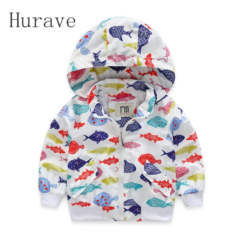 Hurave Kids Coat For Girls And Boys Fish Pattern Children Hooded Jackets Casual Outerwear Infant Autumn