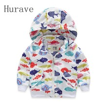 Hurave Kids Coat For Girls And Boys Fish Pattern Children Hooded Jackets Casual Outerwear Infant Autumn Spring Outdoor Clothes