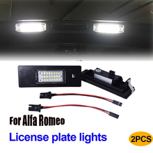 2x6000K Error free LED License Number Plate Light lamps for Alfa Romeo 147 156 9 166 GT Brera Spider Fiat License Number Plate купить недорого в Москве