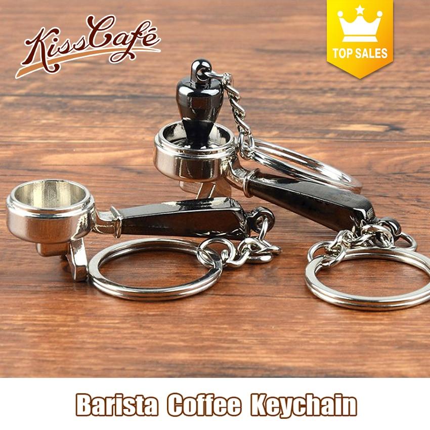 Creative Barista Coffee Tamper Keychain Coffee Machine Handle Moka Pitcher Keyring Portable Coffeeware Espresso Accessories Gift