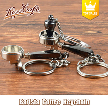 Creative Barista Coffee Tamper Keychain Machine Handle Moka Pitcher Keyring Portable Coffeeware Espresso Accessories Gift