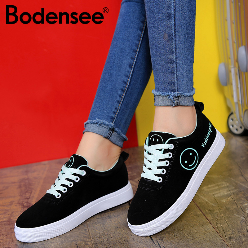 BODENSEE Women Canvas Shoes Summer/Autumn Flats Women Canvas Shoes Classic Lace Up Smiley Face Walking Fashion Women Sneakers цены онлайн