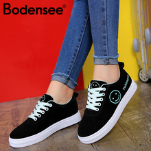 Women Canvas Shoes Summer/Autumn Flats Classic Lace Up Smiley Face Walking Fashion Sneakers