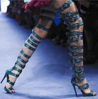 Лето 2017 choudory/Для женщин синий коричневый, черный большой металлической bucklethin выше колена сапоги до бедра ботинки с высоким голенищем Большо