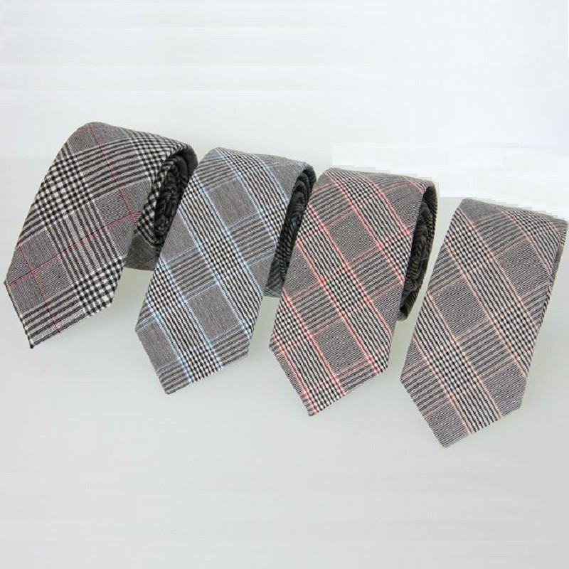 6cm business tie for men plaid necktie cotton neck tie skinny grey neckties for suit mens neckwear
