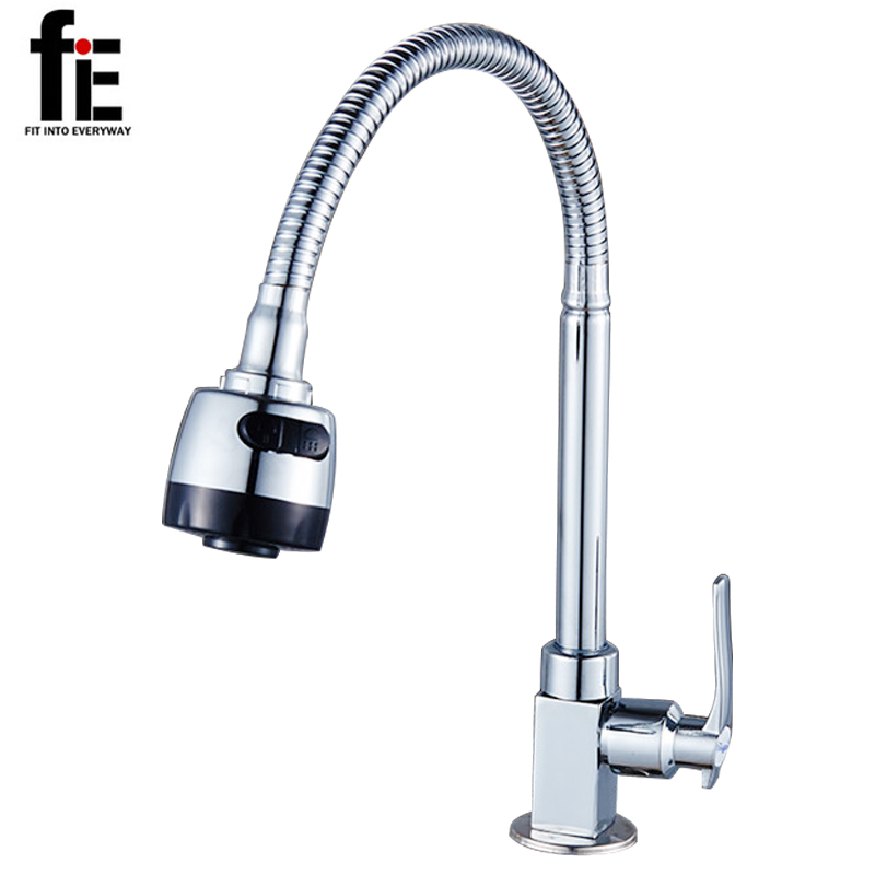 fiE Brass Chrome Taps for Kitchen Sink Kitchen Tap Single Hole Wall Kitchen Faucet Torneira Cozinha