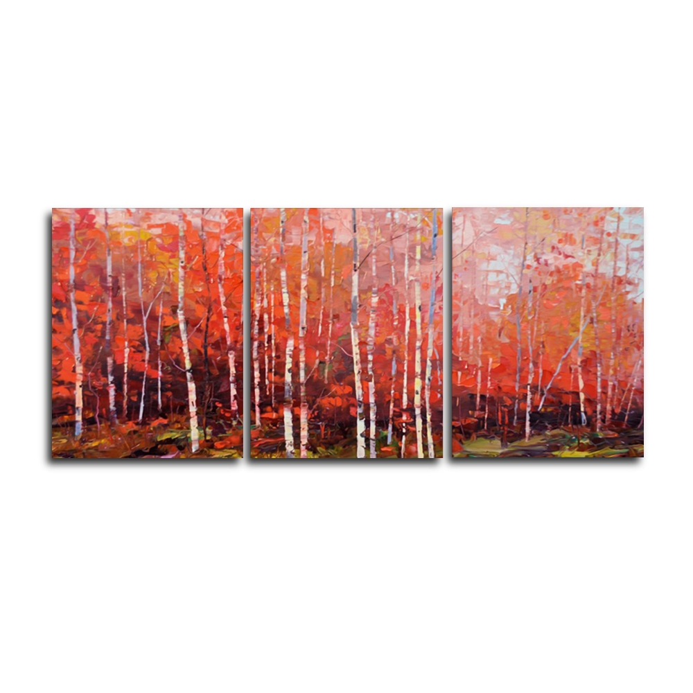 Laeacco 3 Panel Graffiti Autumn Maple Forest Posters Prints Canvas Calligraphy Painting Wall Art Nordic Home Living Room Decor in Painting Calligraphy from Home Garden