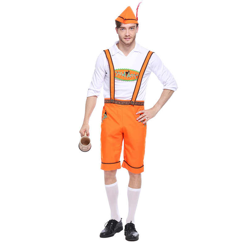 Взрослый человек Бавария Костюм Октоберфест комбинезоны наряд вечерние Бар  партия пиво фестиваль Карнавал Костюм b4435762fb502