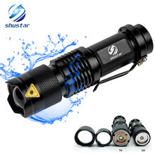Mini LED Flashlight 4000LM Q5 T6 LED Torch Adjustable Focus Zoom Flash Light Lamp use 14500 and 18650 battery Give gift(China)