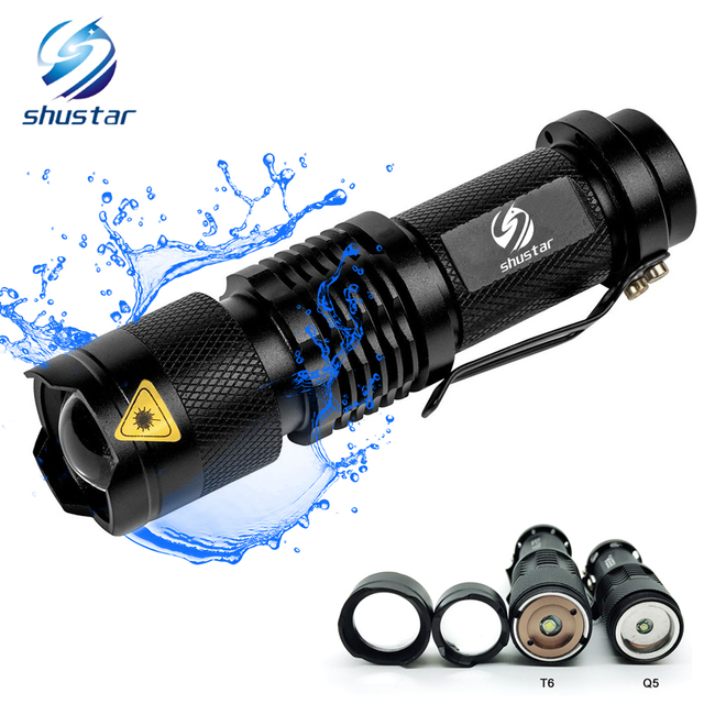 Waterproof Mini Flashlight Adjustable Focus