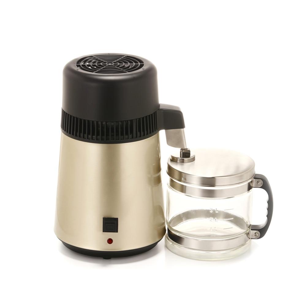 4L Dental/Medical/Home Pure Water Distiller Moonshine Still Stainless Steel Internal w/Glass 1Gal Countertop - 4