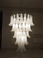 LED Light Fixture Home Hotel Light Elegant White Color Hand Blown Murano Glass Petal Chandelier