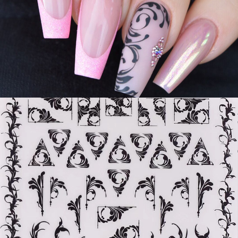 1 Sheet Russian Vines 3D Nail Art Stickers Black Arabessque Nail Stickers Nail Decals Adhesive Sticker Tattoo Slides